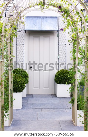 Door with arched entrance - stock photo