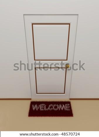 Door with doormat welcome.3D - stock photo