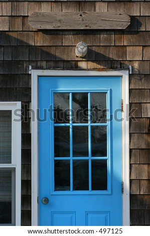 Door with empty place for your sign - stock photo