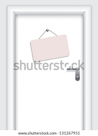 Door with hanging timetable - stock photo