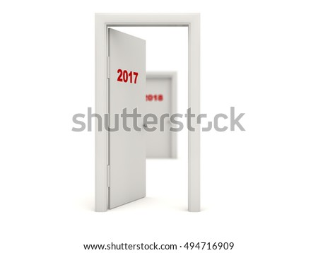 Door with 2017 New Year sign isolated on white. 3D illustration