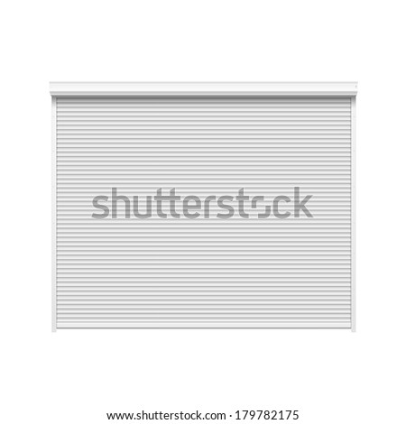 Door with Rolling Shutters Isolated on White Background - stock photo