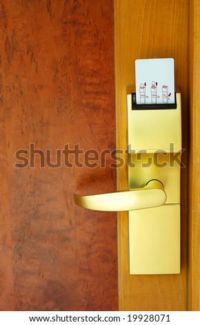Door with security card at the resort in exotic country. - stock photo