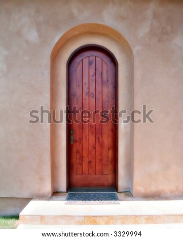 door with textured wall - stock photo