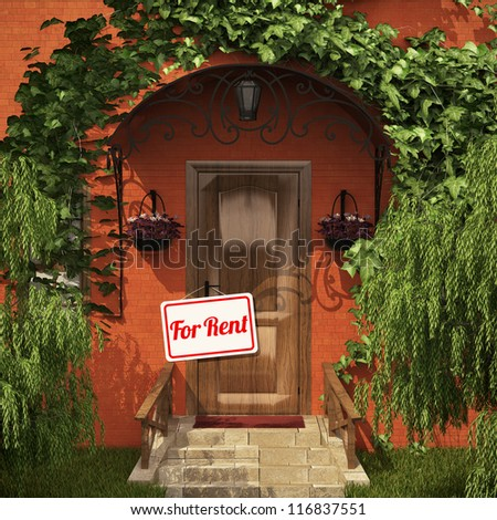 """Door with the """"For Rent"""" table - stock photo"""