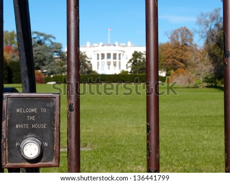 Doorbell to the Whitehouse and Front Lawn - stock photo