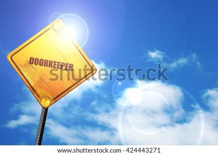 doorkeeper, 3D rendering, a yellow road sign - stock photo