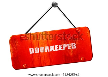 doorkeeper, 3D rendering, vintage old red sign - stock photo