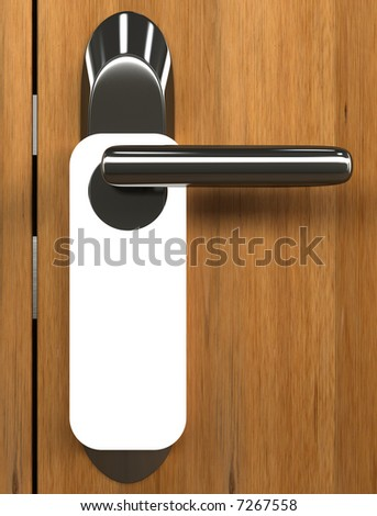 Doorknob. You can put your text on the white card. - stock photo