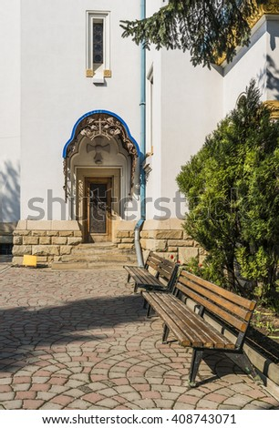 Doors and Patio in the Nicholas Cathedral (Church Drunk). Architecture in the old town Chernivtsi. Western Ukraine.  Chernivtsi. - stock photo