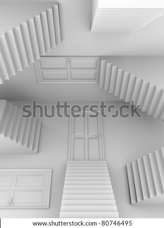 Doors and stairs. Abstract scene in white. 3d render