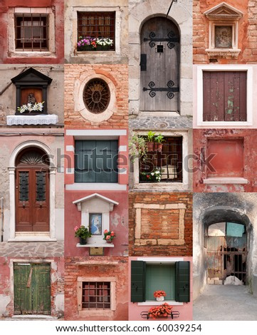 doors and windows collection - stock photo