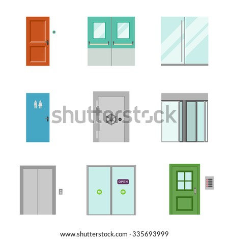 Doors for different purposes in flat style. Raster version - stock photo