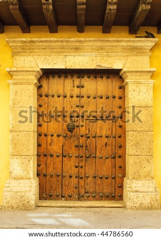 Doors of colonial building in Cartagena, Colombia - stock photo