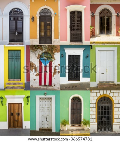 Doors of houses in San Juan, Puerto Rico - stock photo
