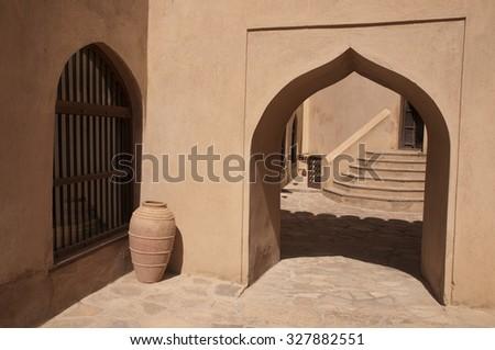 Doors  of the Nizwa Fort in Nizwa, Oman - stock photo