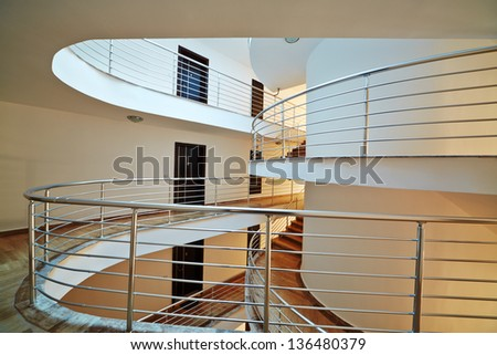 Doors on floors and stais in hotel - stock photo
