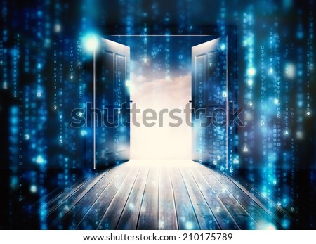 Doors opening to reveal beautiful sky against lines of blue blurred letters falling - stock photo