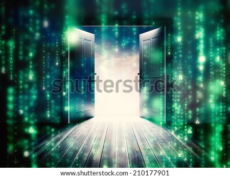 Doors opening to reveal beautiful sky against lines of green blurred letters falling - stock photo