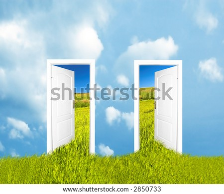 Doors to the new world. Easy editable image. See also different versions!