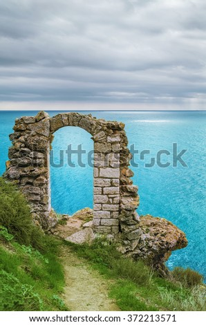 Doorway as Part of the Remains of the Fortress - stock photo