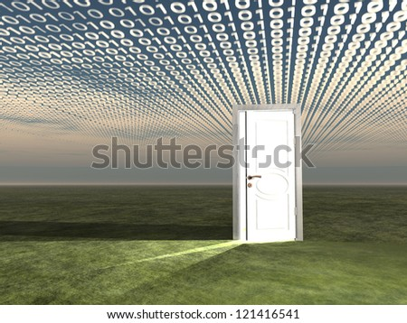 Doorway in landscape with binary streaming - stock photo