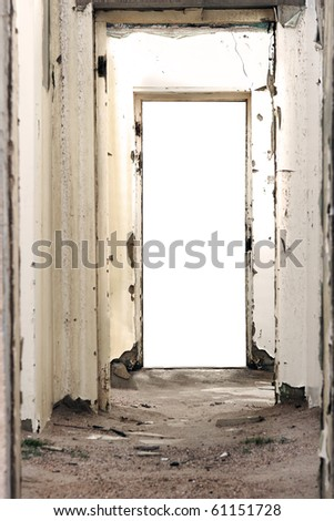 Doorway leading into a white background - stock photo