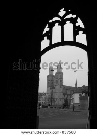 Doorway of a church - stock photo