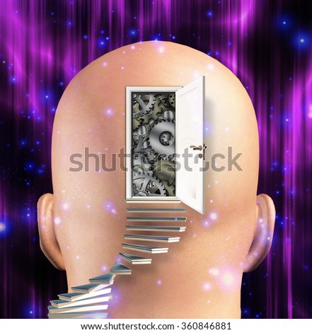 Doorway opens to gears in mind - stock photo