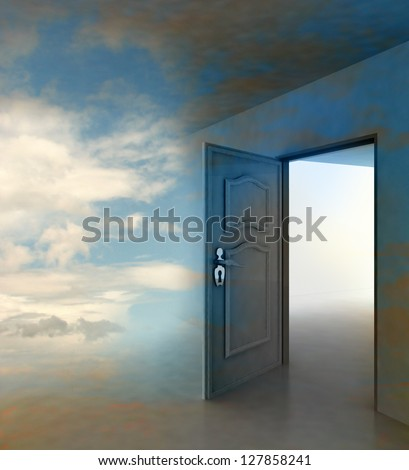 doorway passage leading to paradise illustration - stock photo