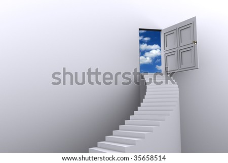 doorway to heaven, freedom concept, dream entrance, imagination symbol, stairway to heaven, the road to success, sky is the limit - stock photo