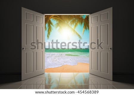 Doorway to the beautiful tropical beach. 3D illustration - stock photo
