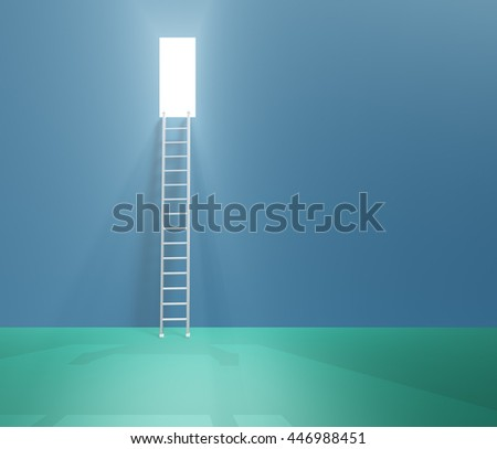 Doorway up high with ladder 3D Render - stock photo