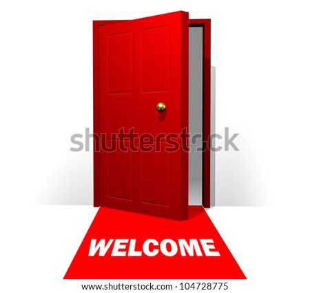 Doorway with Red Carpet and Welcome Sign - stock photo