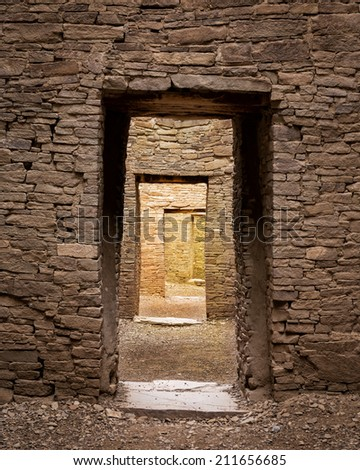 Doorways of Pueblo Bonito at the Chaco Culture National Historical Park in New Mexico - stock photo