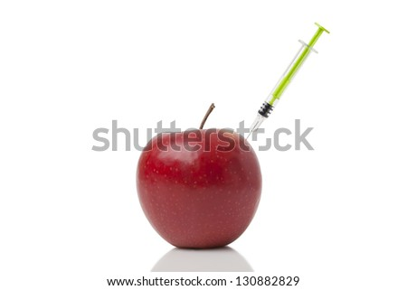 Doping Apple on white background.