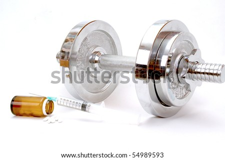 doping in sports weights isolated on a white background , sport concept , doping in sport - stock photo