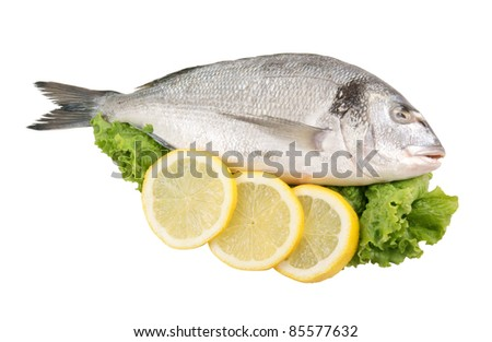 Dorado fish with lemon and greens isolated - stock photo