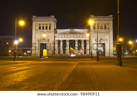 Doric propylaen monument in Munich, Germany, at night
