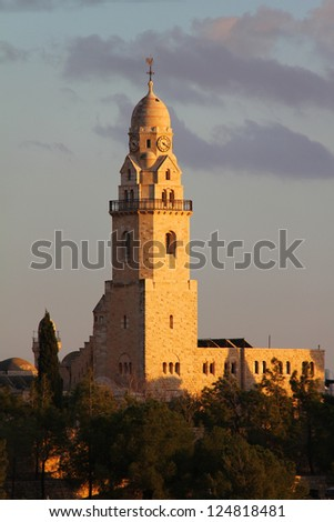 Dormition  Abbey  Bell-Tower on Mount Zion.   Jerusalem. - stock photo