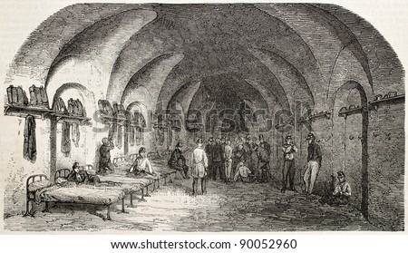 Dormitory in Fort-Neuf (military prison), Algiers, old illustration. Created by Gaildrau, published on L'Illustration, Journal Universel, Paris, 1858 - stock photo
