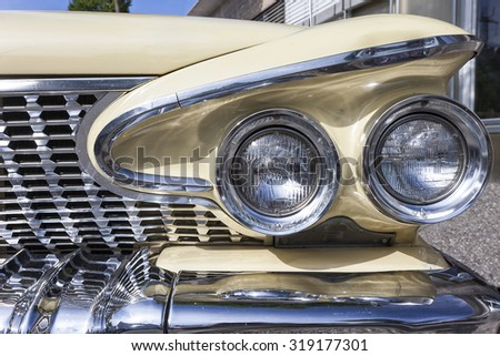 Dornbirn, Austria, 12 June 2011: Front detail of a Plymouth vintage car - stock photo