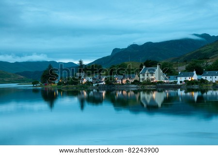 Dornie village in Springtime on the shores of Loch Duich Ross-shire Scotland. - stock photo