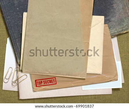 dorsal view of military message and other documentation - stock photo