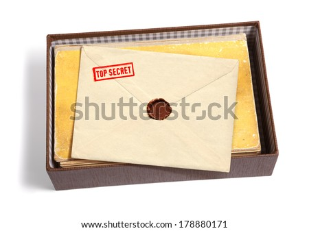 dorsal view of military message and other documentation isoated on white background with path - stock photo