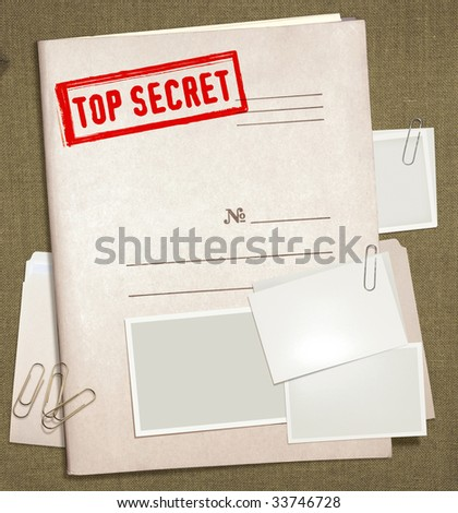 dorsal view of military top secret folder with stamp - stock photo