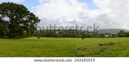 Dorset countryside near Yeovil, landscape with  grass fields of hilly Dorset countryside  - stock photo