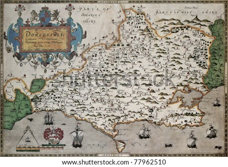 Dorset old map, from Atlas of England and Wales. Created by Christopher Saxton, published in London, 1579