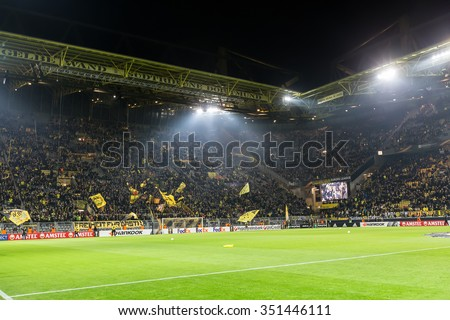 Dortmund, Germany- December 10, 2015: Interior view of the full Signal Iduna Park Stadium during the match UEFA Europa League match between PAOK vs Borussia Dortmund