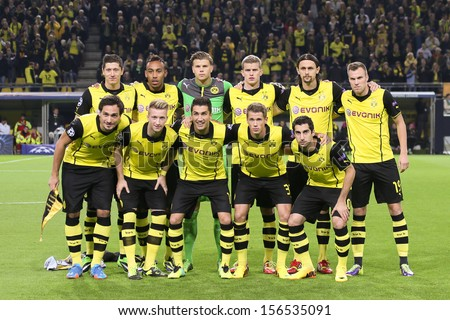 DORTMUND, GERMANY - OCT 1: BVB Team prior to the Champions League match between Borussia Dortmund & Olympique de Marseille, final score 3-0, on October 1, 2013, in Dortmund, Germany. - stock photo